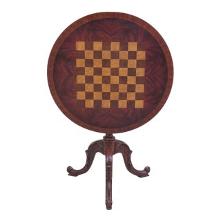 Maitland Smith Inlaid Checkerboard Top Mahogany Table For Sale