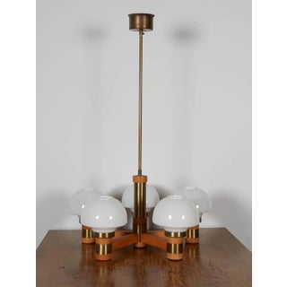 20th Century Art Deco Teak and Brass Five-Light Chandelier Preview
