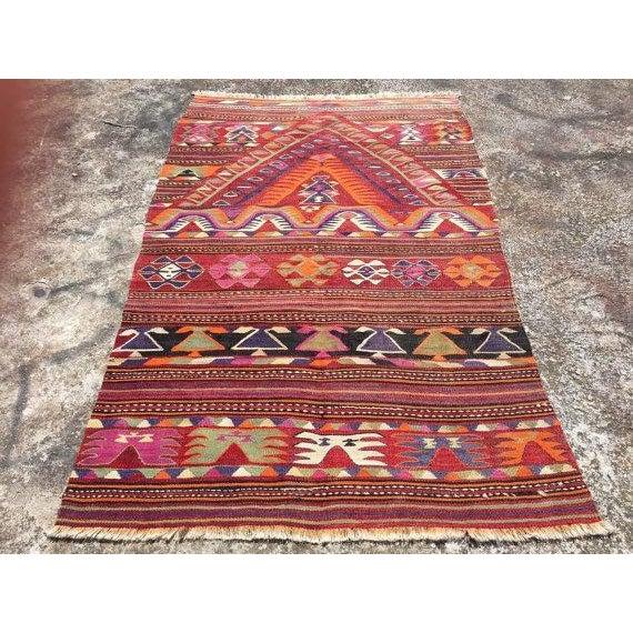 """Vintage Turkish Kilim Rug - 4'4"""" X 6'8"""" - Image 2 of 6"""