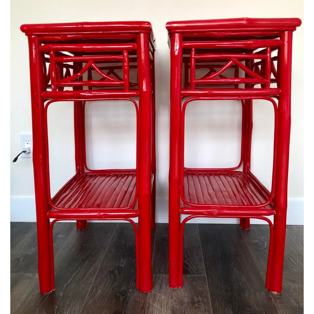 Fantastic pair of Serena and Lily red lacquered side tables. May also be used as nightstands. Great chinoiserie accent...