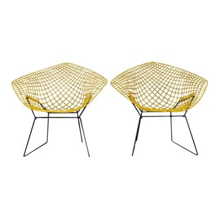 1960s Mid-Century ModernHarry Bertoia for Knoll Yellow Diamond Chairs - a Pair