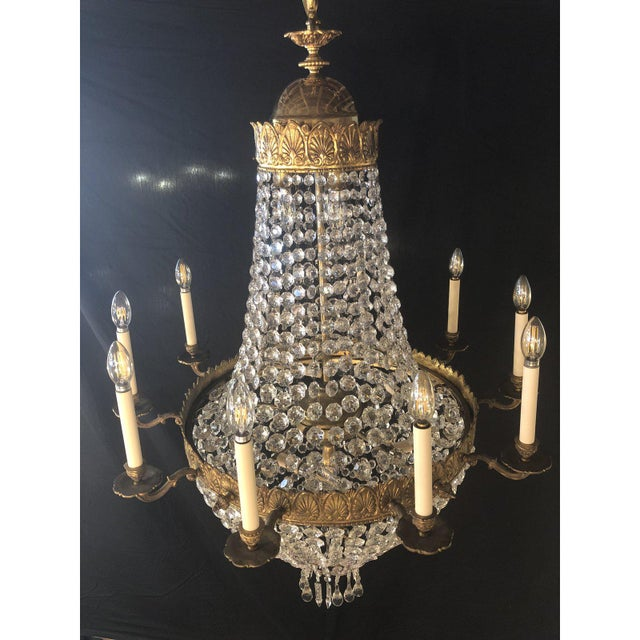 French Large French Antique Louis XVI Style Bronze and Crystal Chandelier For Sale - Image 3 of 11