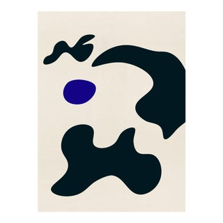 Modern Abstract With Biomorphic Shapes Blue and Black #1 Print For Sale