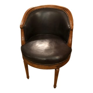 1940s Vintage Debonair Black Leather and Brown Suede Barrel Swivel Chair For Sale