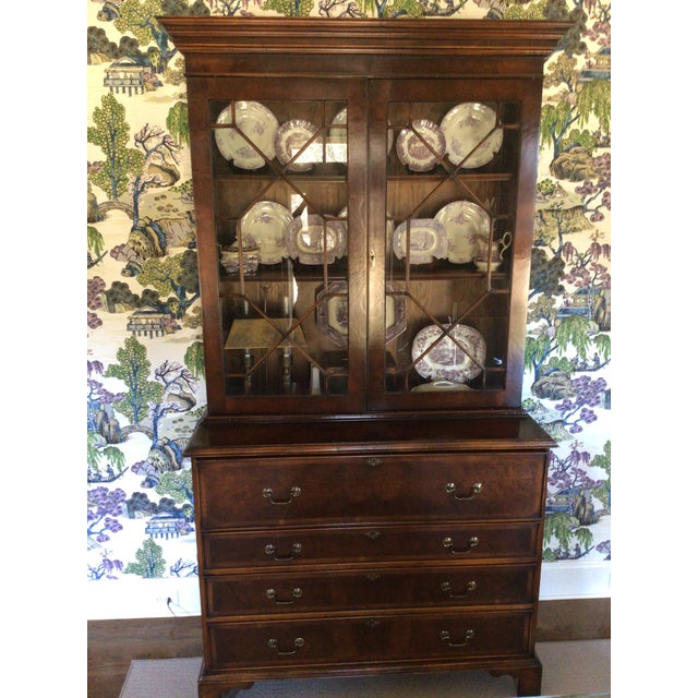 Custom Made English Breakfront Secretary in Chinese Chippendale Style For Sale - Image 4 of 11