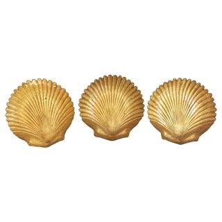 Vintage Gold Shell Plates - Set of 3 For Sale