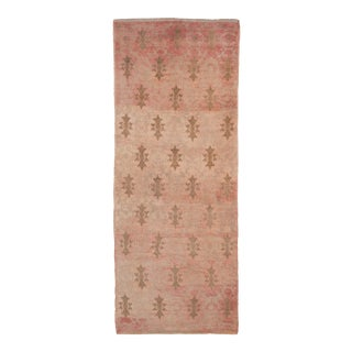 Muted Vegetable Dye Vintage Hand Knotted Turkish Oushak Runner Rug 2'8'' X 6'8'' For Sale