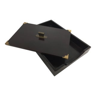 Vintage Wood and Brass Desk Tray For Sale
