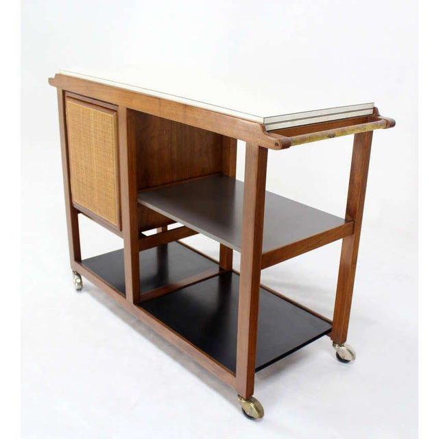 Early 20th Century Mid-Century Modern Flip-Top Walnut Serving Cart For Sale - Image 5 of 9