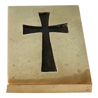 Vintage Brass Cross Paperweight For Sale
