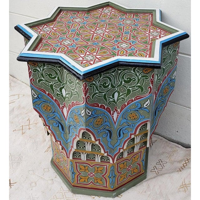 Islamic Moroccan Ceuta Painted and Carved Star Table For Sale - Image 3 of 7
