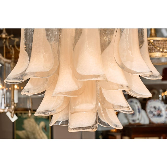 """Metal Peach Murano Glass """"Selle"""" Chandeliers - a Pair For Sale - Image 7 of 10"""