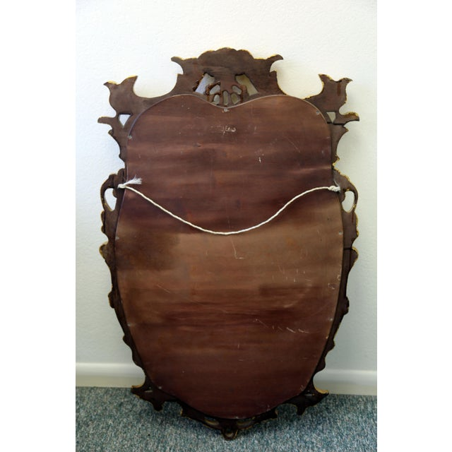 Glass Vintage Gold Gilt Wood Mirror For Sale - Image 7 of 9