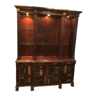 Maitland Smith Breakfront Dark Walnut Bookcase
