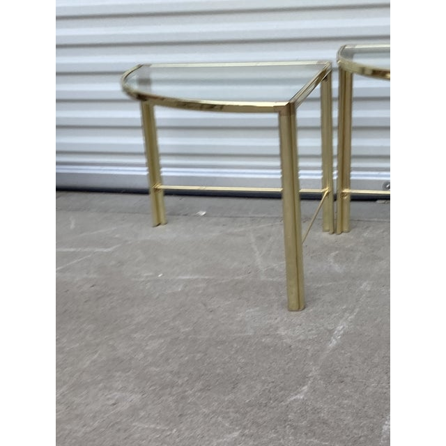 Mid Century Milo Baughman Glass Top Corner Nesting Tables - 3 Pieces For Sale - Image 9 of 11