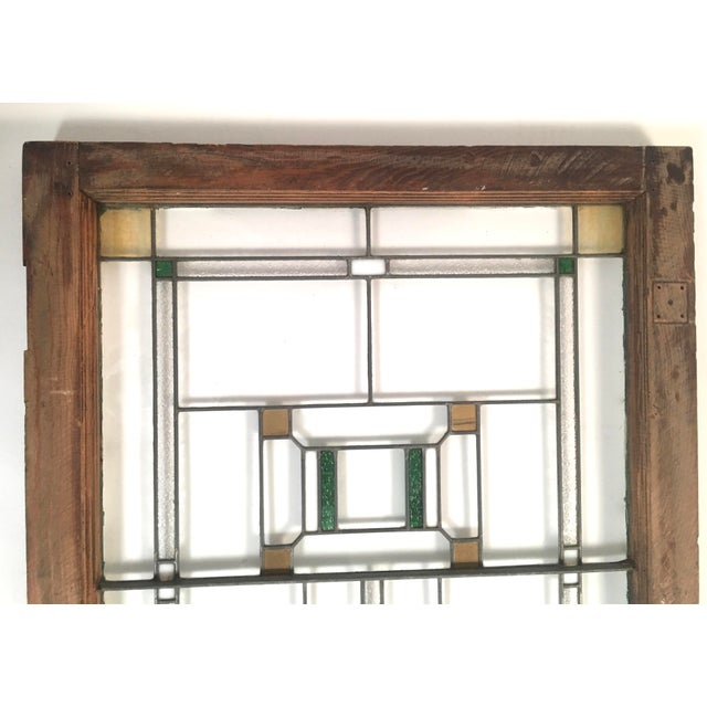 Arts & Crafts Prairie School Period Stained Glass Windows- A Pair For Sale - Image 3 of 8
