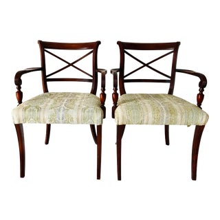 Hollywood Regency English Style Mahogany Arm Chairs, Pair For Sale
