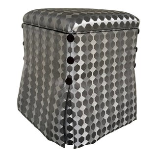 Caracole Couture Modern Gray and Silver Geometric Hide and Seek Skirted Storage Ottoman For Sale