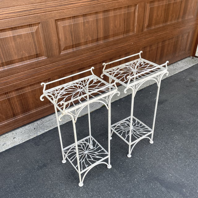 Shabby Chic Mid 20th Century Metal Plant Stands or Tables - a Pair For Sale - Image 3 of 8