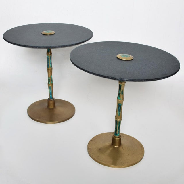 Mid-Century Modern Pepe Mendoza Mid-Century Mexican Modernist Bronze Malachite Black Side Tables - a Pair For Sale - Image 3 of 11