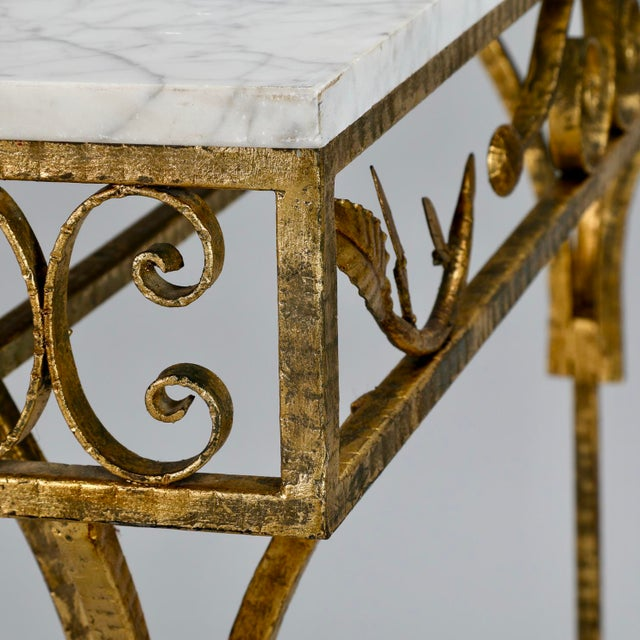 French Gilt Iron Wall Hung Console with Marble Top For Sale - Image 11 of 11