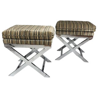 Pair of Hollywood Regency Style Decorator Chrome Based X Form Stools or Benches For Sale
