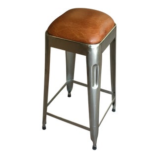 Modern Leather Seat Counter Stool For Sale