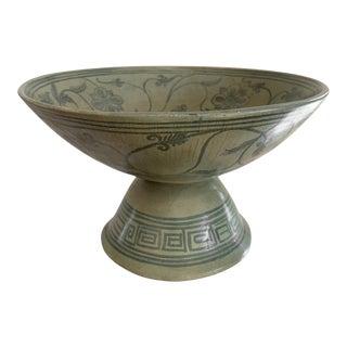 Antique Thai Celadon Stemmed Dish Sukhothai Sawankhalok For Sale