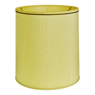 Vintage Stiffel Fabric Drum Lamp Shade W/ Gold Piping For Sale