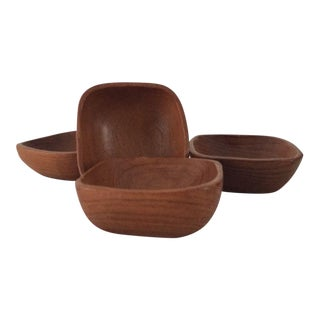 Mid-Century Danish Teak Wood Bowls - Set of 4 For Sale