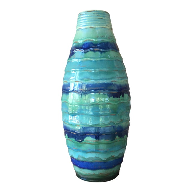 Late 20th Century Contemporary Large Drip and Crackle Glazed Ribbed Vase For Sale