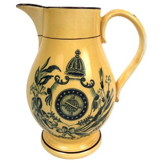 Staffordshire Pottery Yellow Glazed Brazil Independence Pitcher, Circa 1825 For Sale
