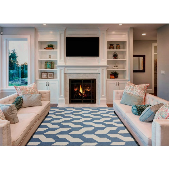 Contemporary Zara Trellis Blue Flat-Weave Rug 3'x5' For Sale - Image 3 of 4