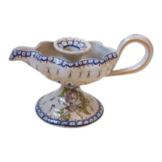 Vintage Italian Majolica Candle Holder For Sale
