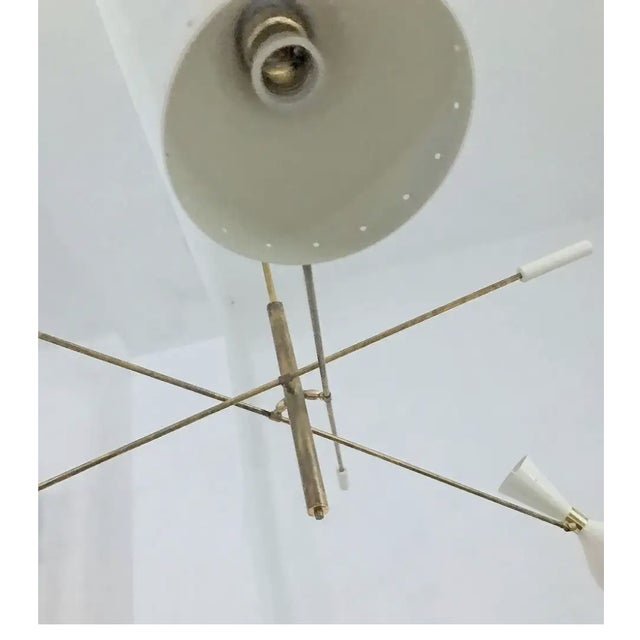 'Triennale' Style Adjustable Three-Arm Chandelier For Sale In Los Angeles - Image 6 of 8