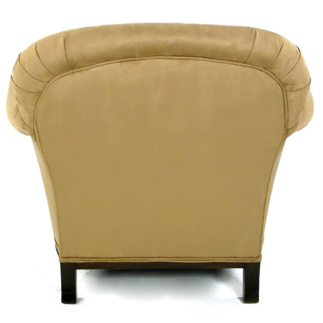 Early 20th Century Rolled-Arm Club Chair in Ultra Suede For Sale - Image 4 of 7