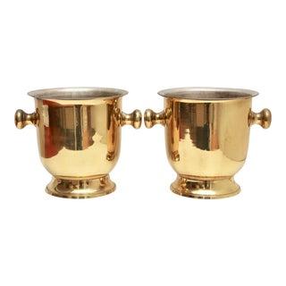 Brass Wine Chiller Buckets - a Pair