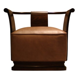 Modern Costantini Simone Rosewood and Leather Occasional Chair For Sale