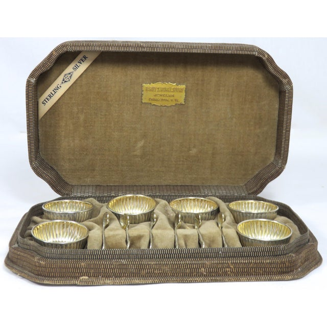 Vintage Sterling Silver Open Salt Cellars & Spoons - 12 Piece Set For Sale In Boston - Image 6 of 13