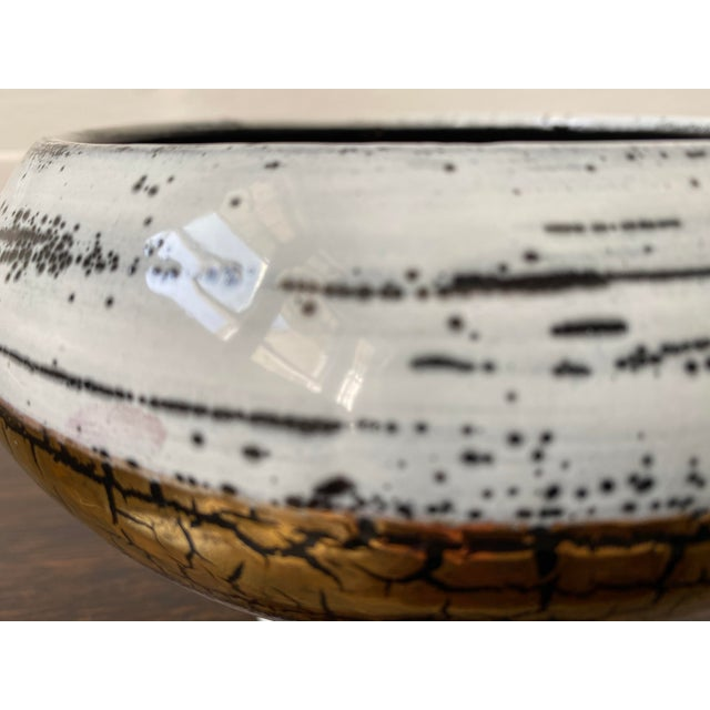 Mid 20th Century Mid 20th Century Italian Ceramic White Gold and Black Bowl For Sale - Image 5 of 7