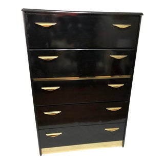 1980s High Gloss Black Lacquer Highboy With Brass Hardware For Sale