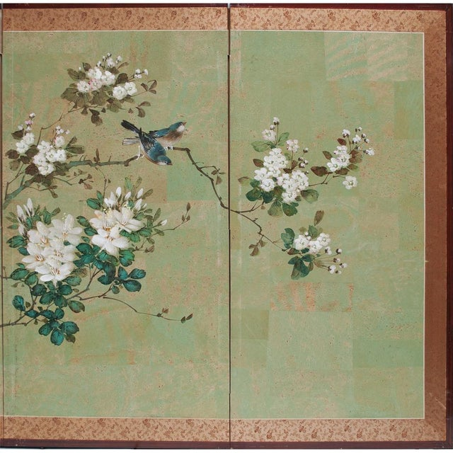 Early 20th Century Japanese Four Panel Byobu Screen For Sale - Image 4 of 13