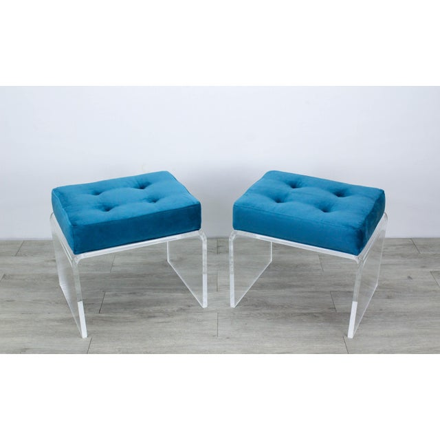 Textile Pair of Teal Waterfall Lucite & Velvet Benches For Sale - Image 7 of 7