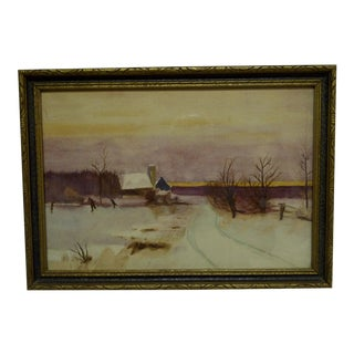 "Late 20th Century Vintage ""Country Winter"" Watercolor Painting For Sale"