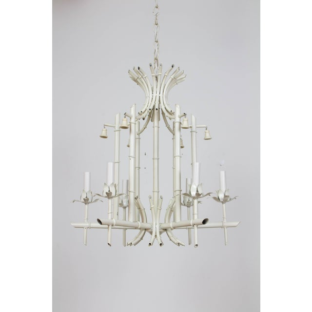 Metal Mid 20th Century White Tole Bamboo Chandelier For Sale - Image 7 of 7