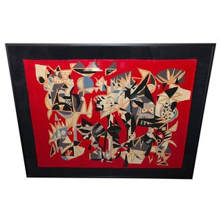 1960s Brazilian Embroidered Tapestry by Genaro De Carvalho For Sale