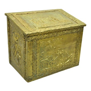 19th Century Antique Embossed Brass Victorian Country Scenes Box For Sale