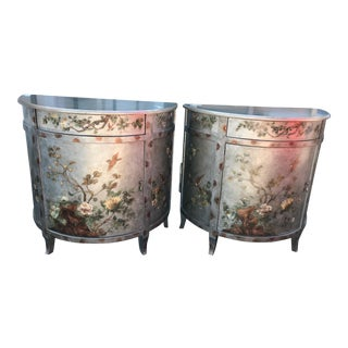 Silver Painted Wooden Demi-Lune Commodes - A Pair