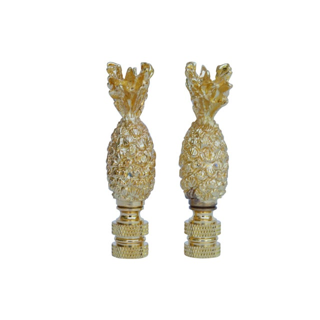 Boho Chic Cast Brass Pineapple Lamp Finials - a Pair For Sale - Image 3 of 4