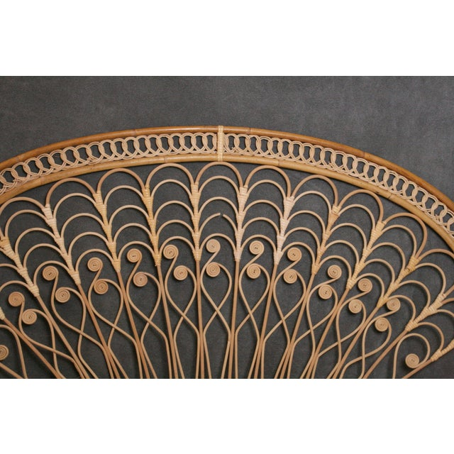 Boho Chic Boho Chic Wicker Peacock Headboard For Sale - Image 3 of 11